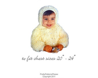 Loopy Hat and Sweater Set to Knit for Baby - Vintage Digital Pattern PDF - PrettyPatternsPlease