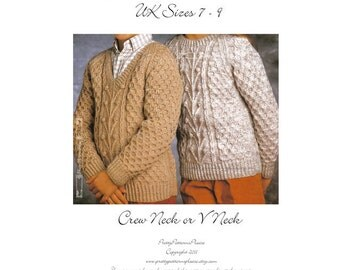 """Vintage Sweater for Children Classic Aran Fishermans Knit Knitting Pattern  Chest Sizes 26"""" - 32"""" Instant Download - PrrettyPatternsPlease"""