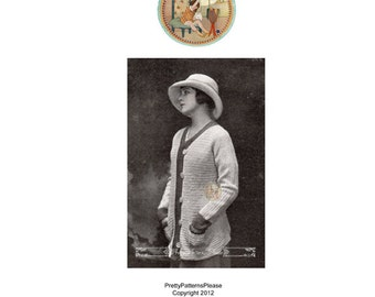 Crochet Pattern Sweater for Women 1917 Daytona Antique  - PDF Instant Download - PrettyPatternsPlease