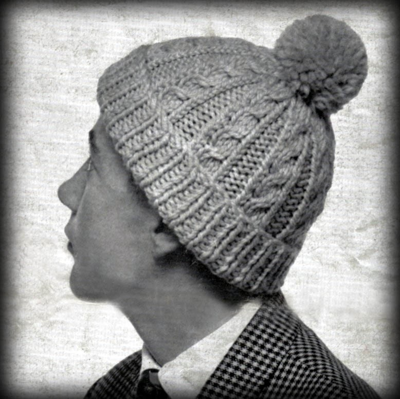 Knitting Pattern Vintage Hat : Vintage Mens Cable Hat Knitting Pattern PDF Instant Download
