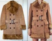 Fur Trimmed Suede Coat XS-S