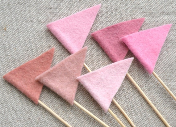 Breast Cancer Awareness Felt Flag Toppers and Pink Velvet Cupcake Recipe by Mayi Carles
