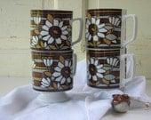 vintage mugs.four.60's.daisy.black.gray.brown.white.feelin' groovy.tessiemay