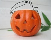 vintage Halloween Jack O'Lantern.pumpkin tealight.orange.small.candle holder.tessiemay vintage