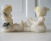 REDUCED.vintage figurines.salt statues.boy.girl.nursery decor.wedding cake toppers.baby.twin gift.tessiemay