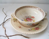 Vintage Bowl-REDUCED-Saucer-Brown Transferware-Soup-Crown Ducal Ware-British-Rustic-Shabby Chic from Tessiemay