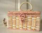Vintage Basket/ Sewing/ Pink /Cream/ Wood /Fabric/ MidCentury /Wicker /Japanese from Tessiemay