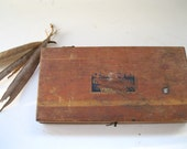REDUCED.vintage box.wooden.tool.earth toned.man gift.tap and die.rustic.farm.garage.tessiemay