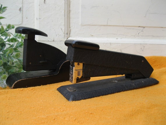 Vintage Staplers Black Metal Wood Desk Office Industrial Urban Chic Early Mid-Century from  Tessiemay