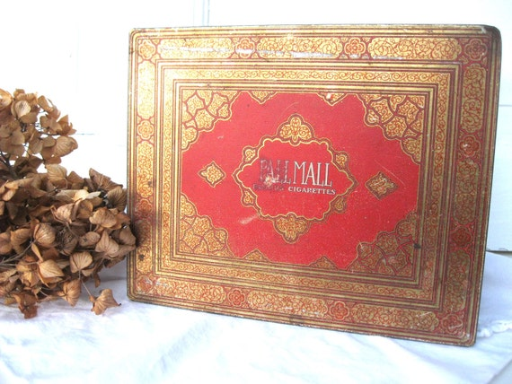 Vintage Tin-Large-Gold-Cherry Red-Pall Mall-Storage-Treasure Tin from Tessiemay