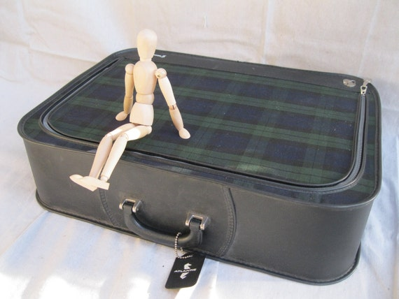 Vintage Suitcase /Plaid /MidCentury /Blue and Green/ Large/ Atlantic Grasshopper/ Luggage/ Travel from Tessiemay