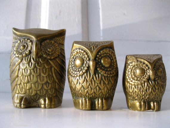 Vintage Solid Brass Owl Family Three Patina Retro Felted Bottoms, from Tessiemay