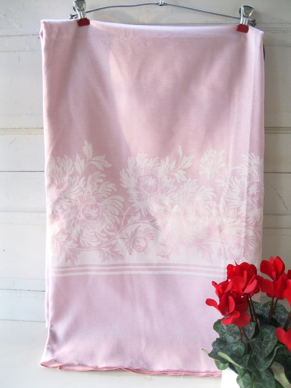 Vintage Tablecloth Pink White Damask Large Formal from Tessiemay