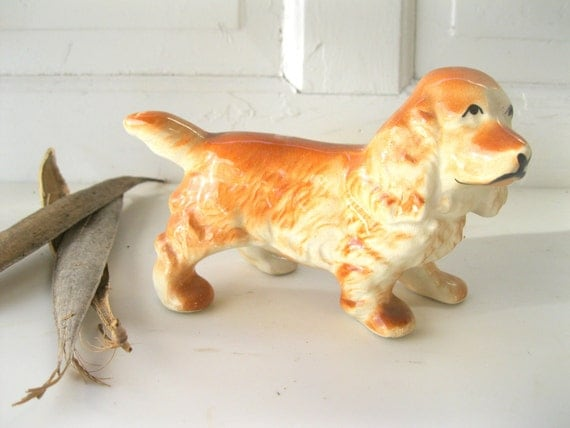 Vintage Doggie//Collectible// Cocker Spaniel Figurine/ /1940's//Golden Brown/ /Ceramic from Tessiemay