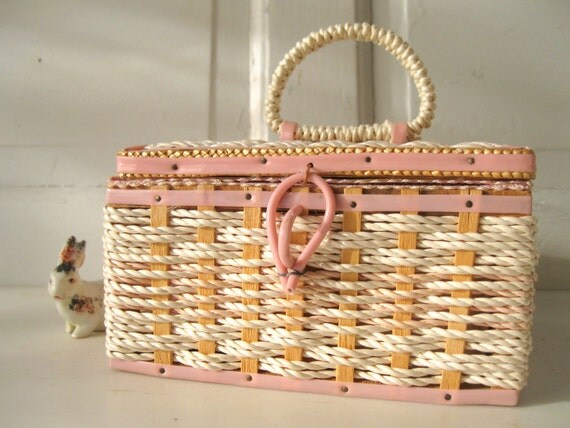 Vintage Basket/ Sewing/ Pink /Cream/ Wood /Fabric/ MidCentury /Wicker /Japanese from Tessiemay