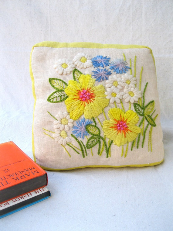 Vintage Pillow /Crewel/ Embroidered/ 70's/ Flower Power/ Yellows /Blues/ Greens from Tessiemay