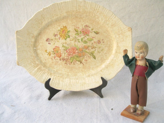 Vintage Platter-Serving-China-Homer Laughlin-Coronet Pink-Wild Hedgeroses from Tessiemay