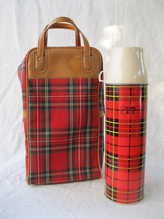 Vintage Red Plaid Bag and Thermos Matching Set  from Tessiemay