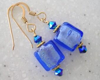 Blues Hues Venetian Glass Earrings 194