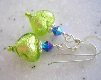 Lovin' Lime and Purple Heart Earrings 219