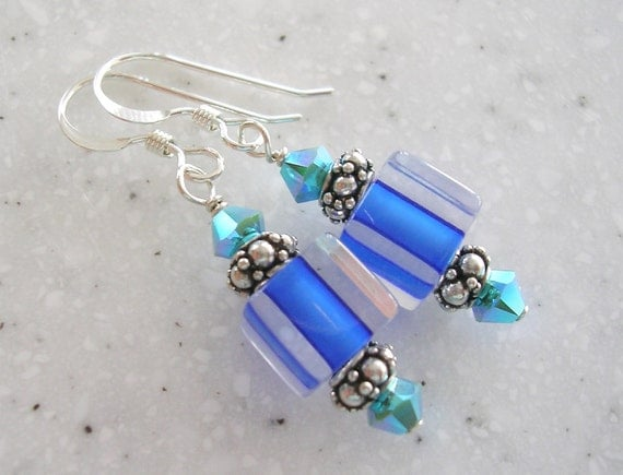 Royal Blue Furnace Glass and Turquoise Crystal Earrings