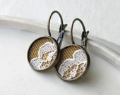 Mustard Yellow and Vintage White Flower Lace Earrings, Fabric Jewelry, Brass Dangle