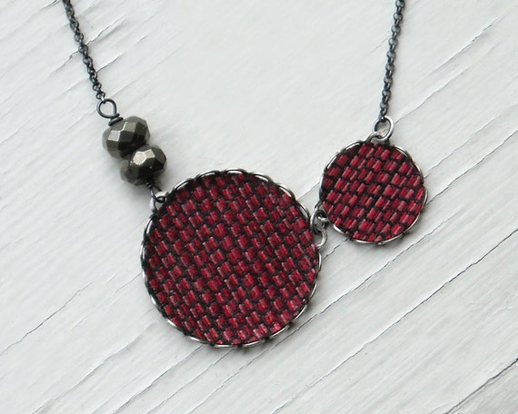 Red Circles Fabric Necklace with Pyrite and Oxidized Sterling Silver