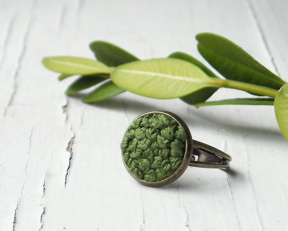 15% off sale - Woodland Moss Ring - Spring Fashion Jewelry, Garden Green Embroidery in Brass, Adjustable