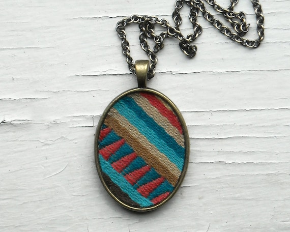 Colorful Stripes Tribal Necklace, Modern, Triangles, Fabric Jewelry, Pink, Teal Blue, Brown - 15% off Cyber Monday Etsy