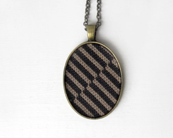 Black Necklace, Recycled Fabric Black Stripes Retro Necklace, Unisex Jewelry Color Block Geometric Jewelry, Gray, Brown Black Pendant