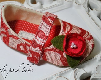 Red Lace Baby Girl Shoes Toddler Girl Shoes Flower Girl Shoes Red Lace Flower Girl Shoes Red Lace  - PRINCESS