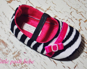 Toddler Girl Shoes Baby Girl Shoes Zebra Birthday Shoes Hot Pink Spring Shoes Summer Shoes Wedding Shoes Animal Print Shoes  -Kristy