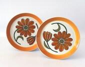 Vintage Salad Plates, Ben Seibel Mikasa Duplex Inspire, Orange Daisy