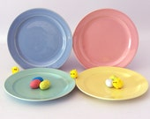 LuRay Pastel Plates, Pink, Yellow, Blue, Green