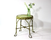 Vintage Metal & Wood Stool, Mint Green, Rustic, Chippy