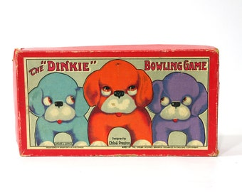 Vintage Bowling Game, Dinkie Bowling Game, Chloe Preston, 1920s Game in Box, Spears Game England, Marble Game,
