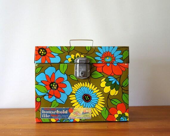 Mod Flower Vintage Metal File Box