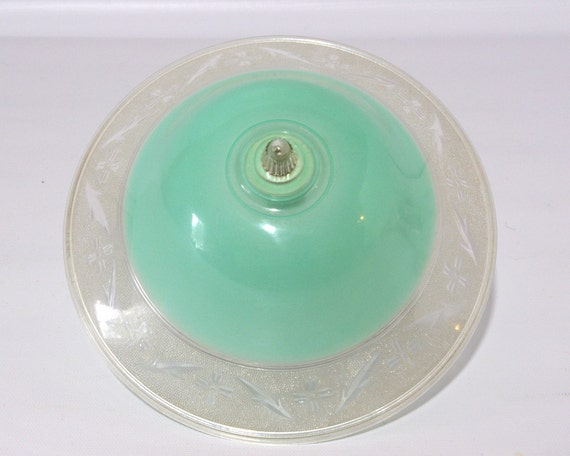 Vintage Aqua Clip On Plastic Ceiling Light Shade