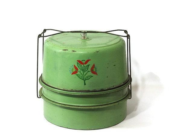 Vintage Cake Carrier, Green Metal Triple Decker