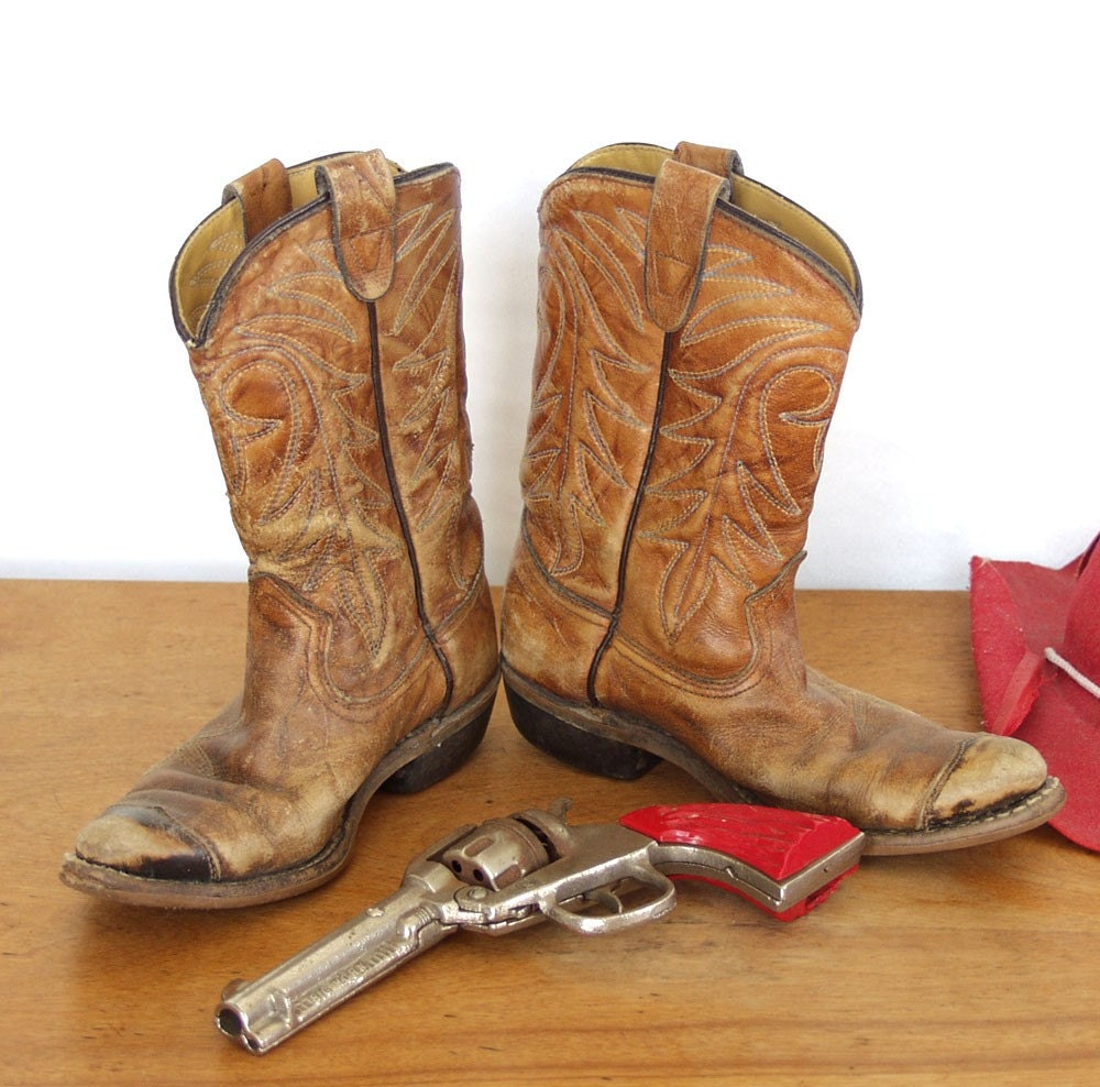 Vintage Child's Cowboy Boots Worn Scuffed and Adorable