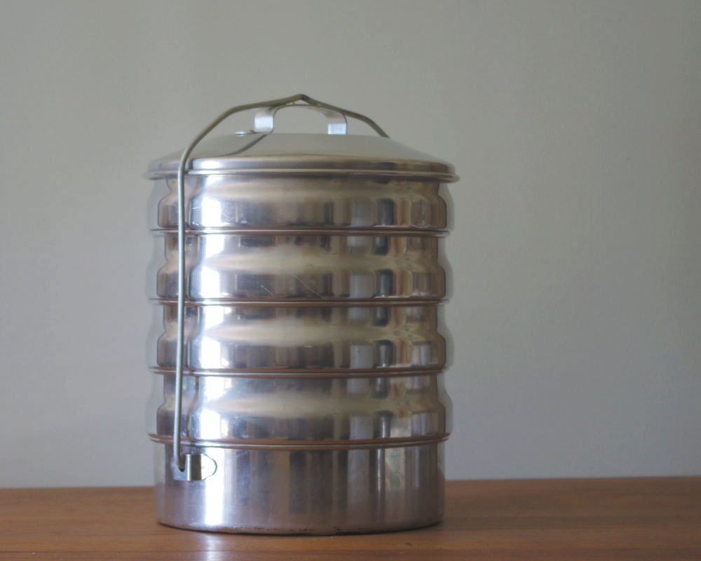 Vintage Aluminum Stacking Picnic Basket Or Pie Carrier