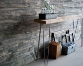 Sofa Table of reclaimed wood and steel legs,(3ft  x 11.5w x30 h )
