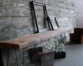 Industrial bench with mid century steel hairpin legs (free shipping)