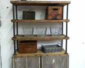 Custom Modern Rustic reclaimed wood bookcase and credenza with 6 shelves