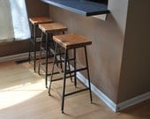 """Reclaimed Wood and Steel Industrial Shop Stool. Made in Chicago. Qty (3) 30"""" bar height stools . QUICK SHIPPING"""