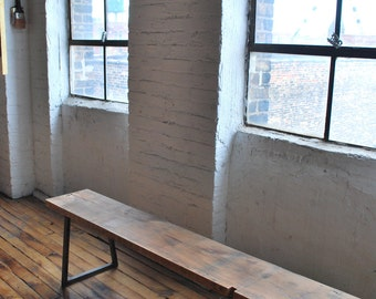 """6ft Reclaimed Wood Bench-""""Brooklyn"""" Modern and Industrial (1.65"""" Standard Top, 6'L x 11.5""""w x 18""""h)"""