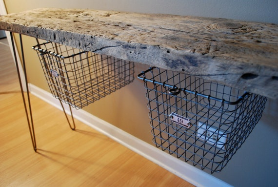 Industrial Rustic Console table with vintage locker baskets
