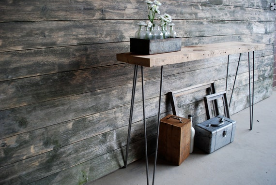 5 ft reclaimed wood console sofa table with hairpin legs for 5 foot console table