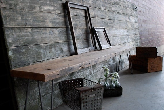 Industrial bench with mid century steel hairpin legs