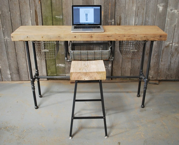 "Macbook or Laptop Industrial Reclaimed Wood Desk (150 year plus ""old growth"" wood)"